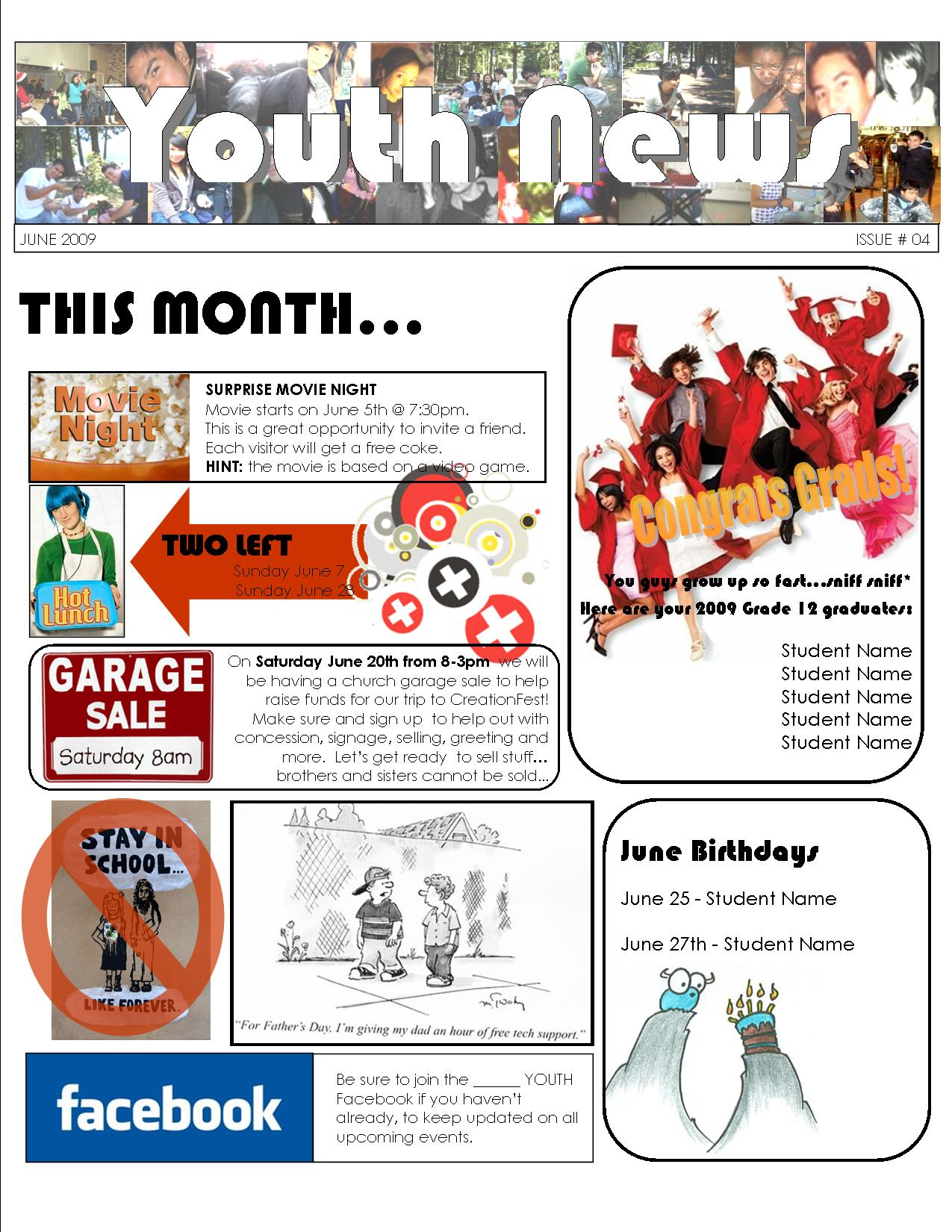 youth group calendar template - youth newsletter youth first aids